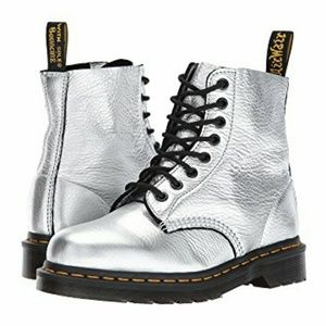 Dr Martens Silver Metallic Leather Combat Boots 10